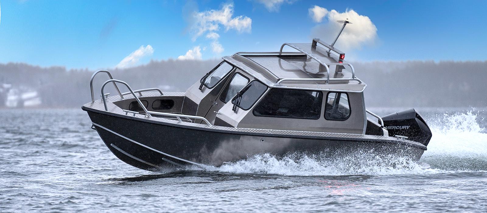 Alukin SC 650 med Mercury V6-200 hk | Sportig aluminiumhyttbåt för snabba transporter